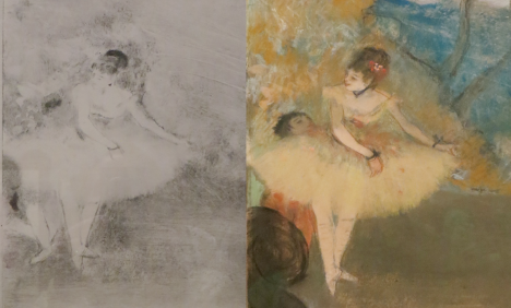 Edgar Degas, Dancer, circa 1976-77, (left) monotype (right) pastel and opaque watercolor over monotype