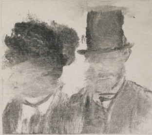 Edgar Degas, Heads of a Man and a Woman (1877–80), monotype on paper