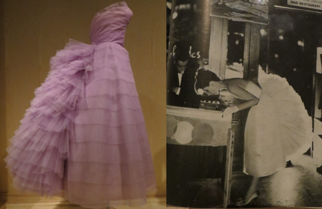 Left: Lanvin-Castillo, evening dress, 1956, light purple nylon tulle, recalling the tiered trimmings and bustled silhouettes of the 1880s fashions. Right: Paris Bares the Shoulder, September 1956, Harper's Bazaar, Photograph by Richard Avedon; Model Suzy Parker leans over a pinball machine.